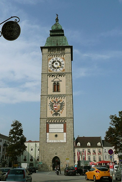 Clock Tower in Enns, Austria